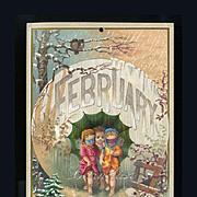 1884 February Calendar Page, Child Fairies or Cherubs Ready for Winter Masquerade Ball,