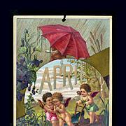 SALE 30% OFF--48 Hr SALE--1884 April Calendar Page, Fairy Children Spring Planting, Showers, V