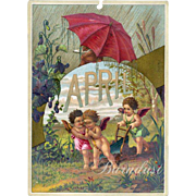 SALE 30% OFF--48 Hr SALE--1884 April Calendar Page, Fairy Children Spring Planting, Showers ..