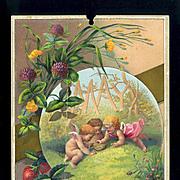 1884 May Calendar Page, Fairy Children Find a Bird's Nest, Strawberries & Clover