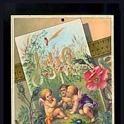 SALE 30% Off 48 Hr Sale!  1884 June Calendar Page, Fairy Children Blowing Dandelion Fluff, Wil
