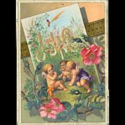 SALE 30% Off 48 Hr Sale!  1884 June Calendar Page, Fairy Children Blowing Dandelion Fluff ...