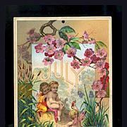 1884 July Calendar Page, Fairy Children Swim, Cattails & Pink Blossoms