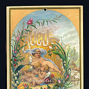 1884 August Calendar Page, Little Fairies Sweet Slumber by the Summer Brook, Roses, Lily of th