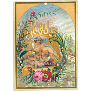 1884 August Calendar Page, Little Fairies Sweet Slumber by the Summer Brook, Roses, Lily of ..