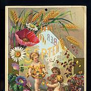 SALE 30% OFF--48 HR SALE--1884 September Calendar Page, Child Fairies Cherubs Gather Summer Pe