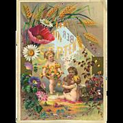SALE 30% OFF--48 HR SALE--1884 September Calendar Page, Child Fairies Cherubs Gather Summer ..