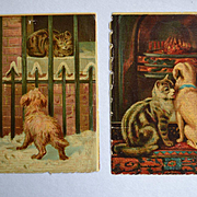 SOLD Cat and Dog Early Chromolithographs