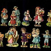 Miniature Antique Die Cuts Victorian Children for Trunks, Ornaments