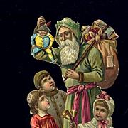 Santa Claus and Children Victorian Die Cut #19