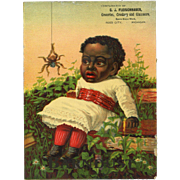 Large Victorian Trade Card, Spider Frightens Black Child Topsy, Fleischhauer, Reed City, ...