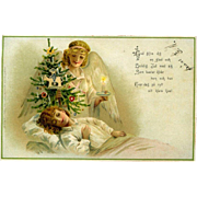 1910s German Christmas Postcard, Angel with Tree Watches Over Sleeping Child #216