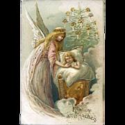 1910s German Christmas Postcard, Angel Gazes at Sleeping Baby, Tree, Gold Trim #217