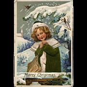 1911 German Christmas Postcard, Pretty Girl, Snowy Landscape, Applied Green Silk Coat, #231