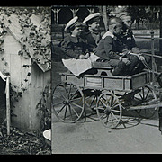 SALE PENDING 2 Stereoview Photos 1907,  Girl with Rabbits, Boys in Goat Cart