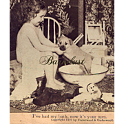 2 Stereoviews, Cute Toddler Gives Puppy Bath, Children & Cats Tea Party