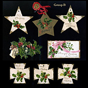 c. 1910s Die Cut Christmas Tags, Stars, Holly Berry