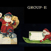 2 c. 1910s Dennison Die Cut SANTA Claus Christmas Gift Tags (E)