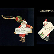 2 c. 1910's Dennison Die  Cut Gift Tags, Holly, Santa Claus