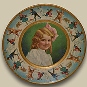 1907 Tin Lithograph Plate, Christmas Kids & Bears Snowball Fight, Union Pacific Tea Co.