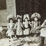 SALE PENDING Dolls Line Up To Listen to Little Preacher Girl, Antique Stereoview