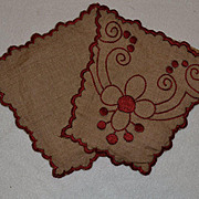 SALE PENDING c. 1910s Red on Ecru Embroidered Ornamental Pieces, Dolls