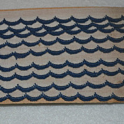 SALE PENDING c. 1910s Original Pkg Navy Scalloped Edge Embroidered Trim / 3 Yards
