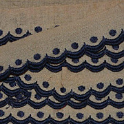 """SALE PENDING c. 1910's Navy Scalloped Embroidered Trim, 3 pcs total 8"""""""