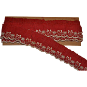 Antique Turkey Red Hand Embroidered Trim Lace 64""