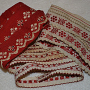 SALE PENDING 3 Different Pieces Turkey  Red Embroidered Trims, Total 92 inches