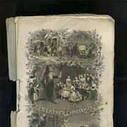 SALE PENDING 1867 Early Father Christmas Scene, Children with Dolls Engraving, Godey's Magazin