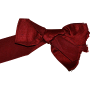 Antique Red Silk Bow, Victorian Trim, Great for Dolls (1)