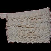 SALE PENDING c 1910s Beautiful Ornate Scalloped Edge, Cream Embroidered Trim 3 yards x 1/2