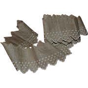 Antique Pointy Scalloped Hand-Embroidered Trim / Lace, Cream on Ecru  Taupe Linen 87 in.