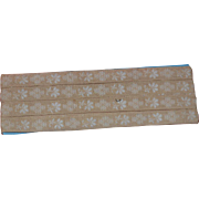 c1910s Embroidered Trim, White on Cream Flowers, 96 in. x 3/8
