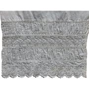 c. 1890s Ruched & Hand Done Eyelet Whitework Leg Panel from Victorian Bloomers, Beautiful Deta