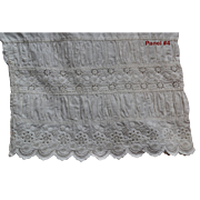 c. 1890s Ruched w Broiderie Anglaise Leg Panel from Victorian Bloomers, Beautiful Detail, DOLL