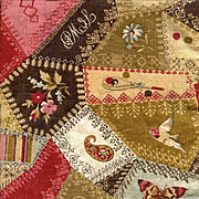 Rare c. 1885 CHEATER CLOTH 24  in. Selvedges, Crazy Quilt Pattern, Fancy Stitches, Bee Hive, C