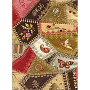 Rare c. 1885 CHEATER CLOTH 24  in. Selvedges, Crazy Quilt Pattern, Fancy Stitches, Bee Hive ..