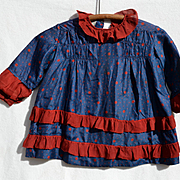 c1915 Dress Blue Silk with Red Dots & Ruffles, Large Dolls, Small Child