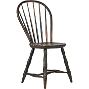 REDUCED American Windsor Antique Bowback Side Chair, 19th Century w/ Black Paint