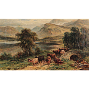 "SALE William Langley Antique Oil Painting on Canvas, (British, 1852-1922) ""Loch Achray"""