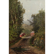 SALE Fine Antique Oil Painting of Wooded Landscape w/ Cabin, William Raphael (Canadian, 1833 .