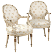 SALE Pair of French Louis XVI Style Painted Arm Chairs c. 1930-50