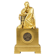 SALE French Empire Figural Mantel Clock in Gilt Bronze c. 1810-20