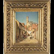 SALE Robert Sliwinski Antique Painting, Continental School Street Scene