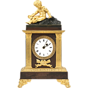 SALE French Empire Antique Mantle Clock, Gilt and Patinated Bronze