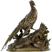 SALE Jules Moigniez (French, 1835-1894) Bronze Sculpture of Pheasant and Weasel