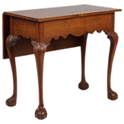 REDUCED Rare American Chippendale Antique Table w/ One Drop Leaf, Connecticut c. 1770-90