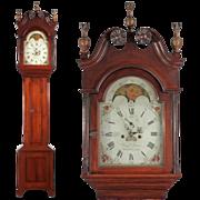 SALE American Federal Antique Tall Case Clock, Benjamin Morris, Bucks County, Pennsylvania
